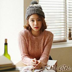 正韓 混紡麻花鏤空針織衫 (共六色)-Chic Girl