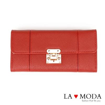 La Moda設計感滿點特殊翻釦防刮十字紋大容量手機包長夾(紅)