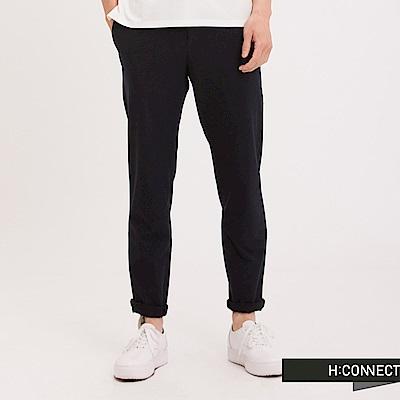 H:CONNECT 韓國品牌 男裝 - 純色抽繩西裝褲-黑