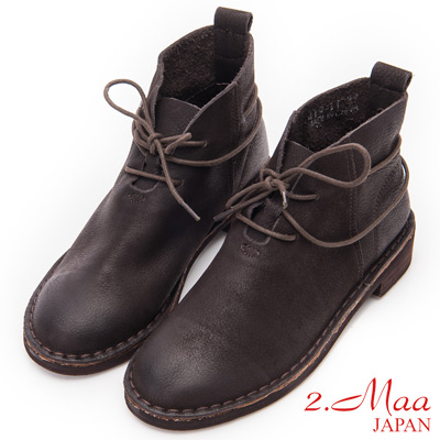 2.Maa - 復古刷色牛皮綁帶造型短靴 - 咖啡