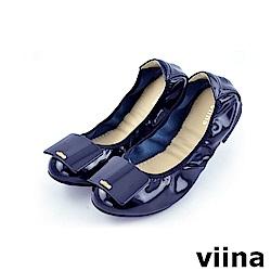 viina 經典款方塊鏡面摺疊鞋MIT-深藍色