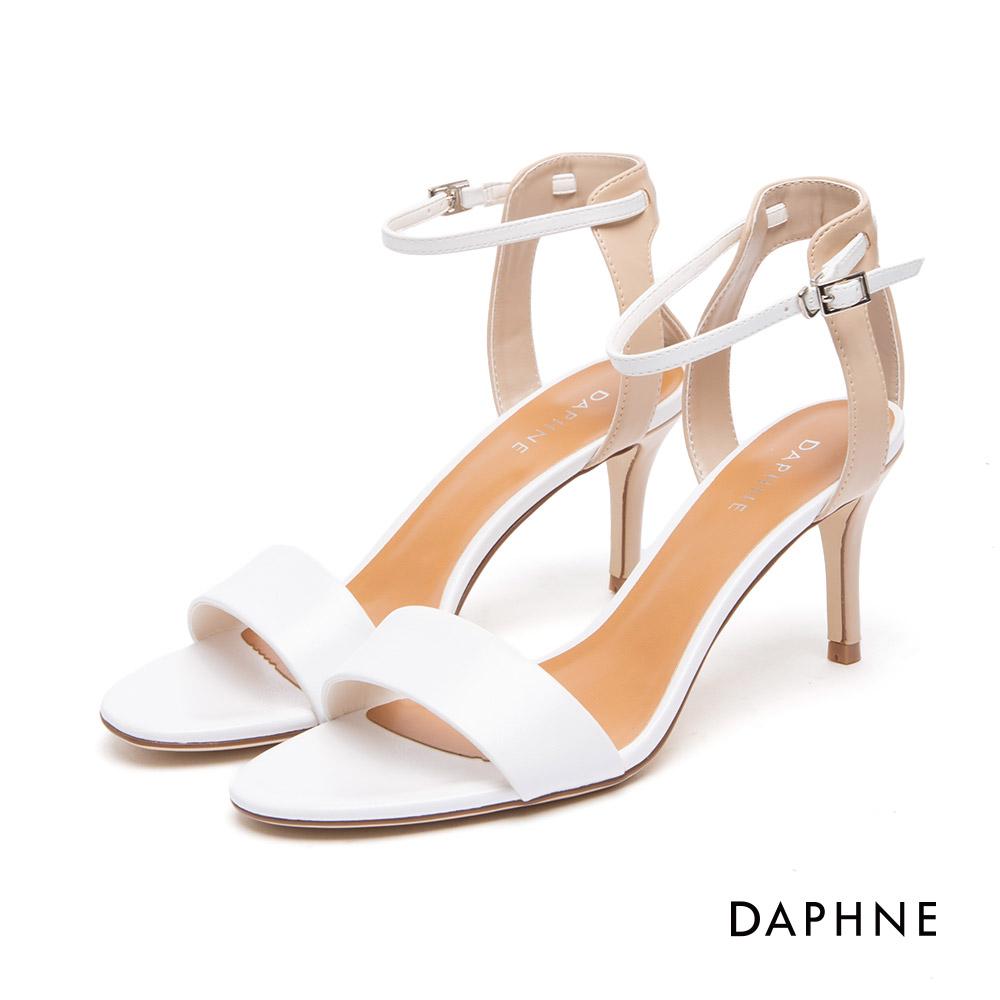 達芙妮DAPHNE 涼鞋-一字帶拼接撞色細高跟涼鞋-白