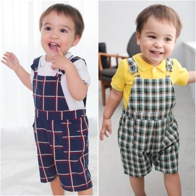 baby童衣 純棉POLO短袖T恤+格紋吊帶褲套裝61038