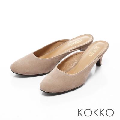 KOKKO-復刻經典羊麂皮小貓跟穆勒鞋-奶茶駝