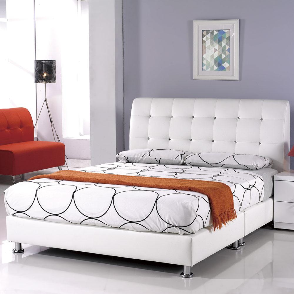 居家生活 雪麗5尺白皮雙人床架(不含床墊)