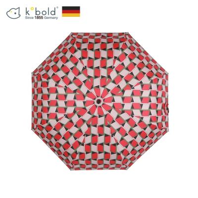 德國kobold酷波德 西瓜方磚 超輕巧抗UV防曬三折傘-西瓜紅