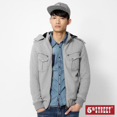 5th-STREET-舖毛針織外套-男-麻灰色