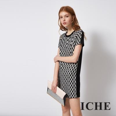 ICHE 衣哲 時尚立體浮雕拼接俐落造型洋裝