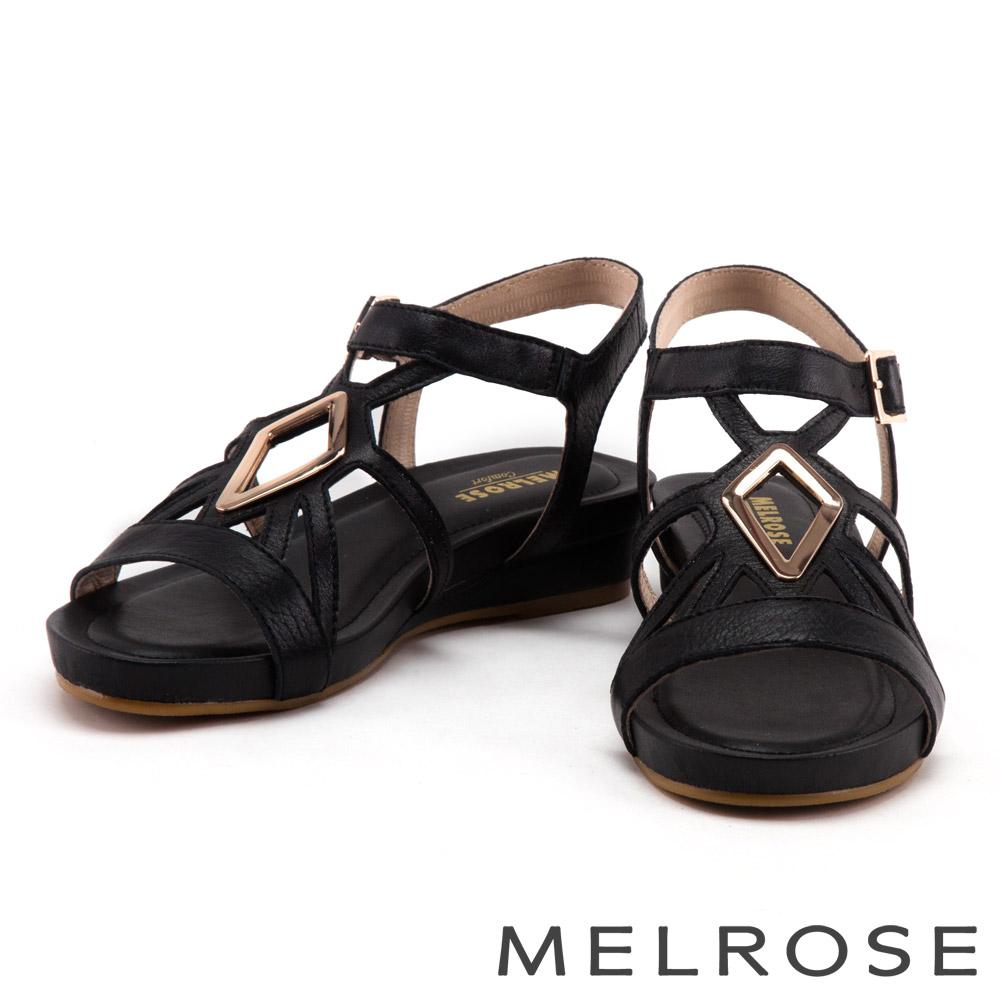 涼鞋 MELROSE 菱形金屬方釦牛皮厚底涼鞋-黑