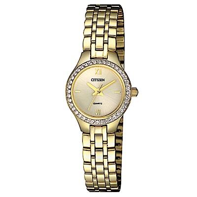 CITIZEN星辰  氣質施華洛世奇石英女錶 (EJ6142-51P)-金色/22mm
