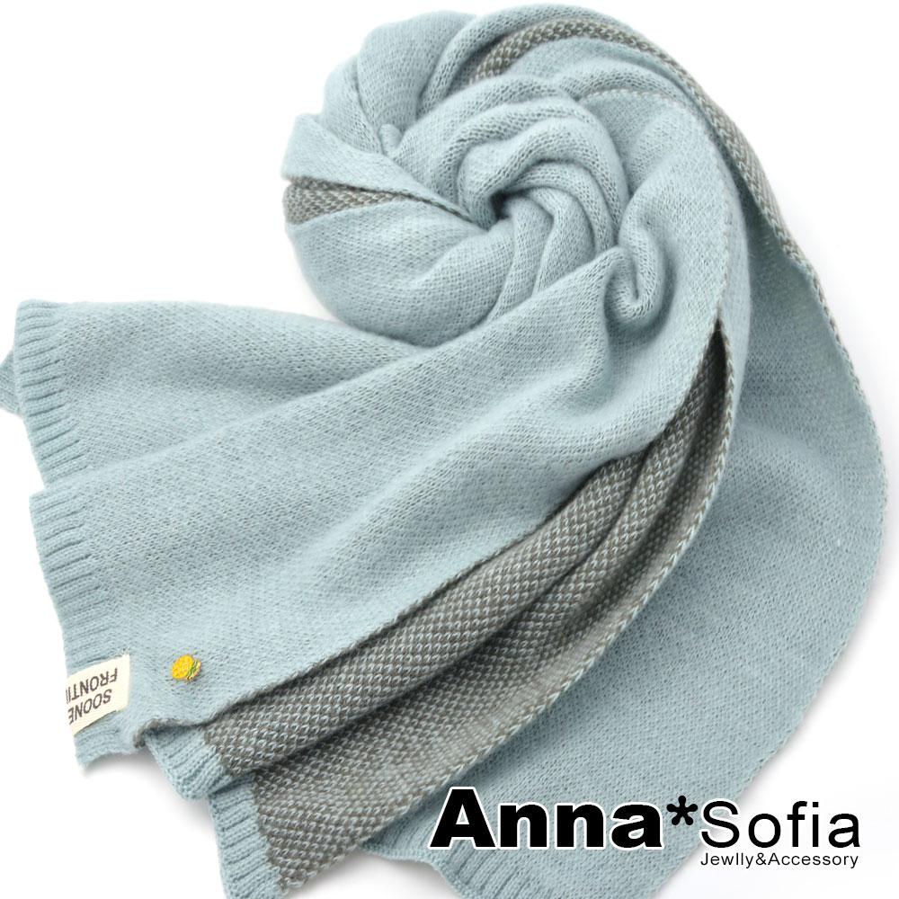 【2件69折】AnnaSofia 雙面色鳳梨釘飾 厚織仿羊絨大披肩圍巾(藍灰系)