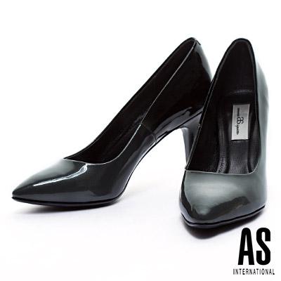 高跟鞋 AS 珠光漸層牛皮美型尖頭高跟鞋-灰