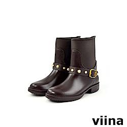 viina 俏皮珍珠短筒雨靴-咖啡色