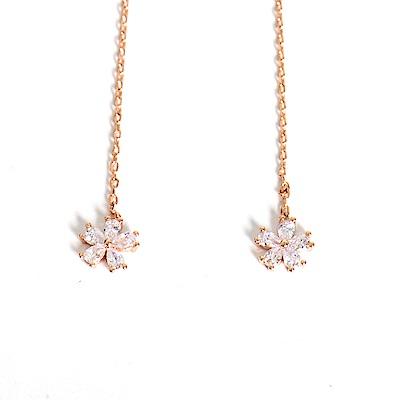 微醺禮物 正韓 鍍K金銀針 垂墜可調長短 鋯石 小花 耳針 耳環