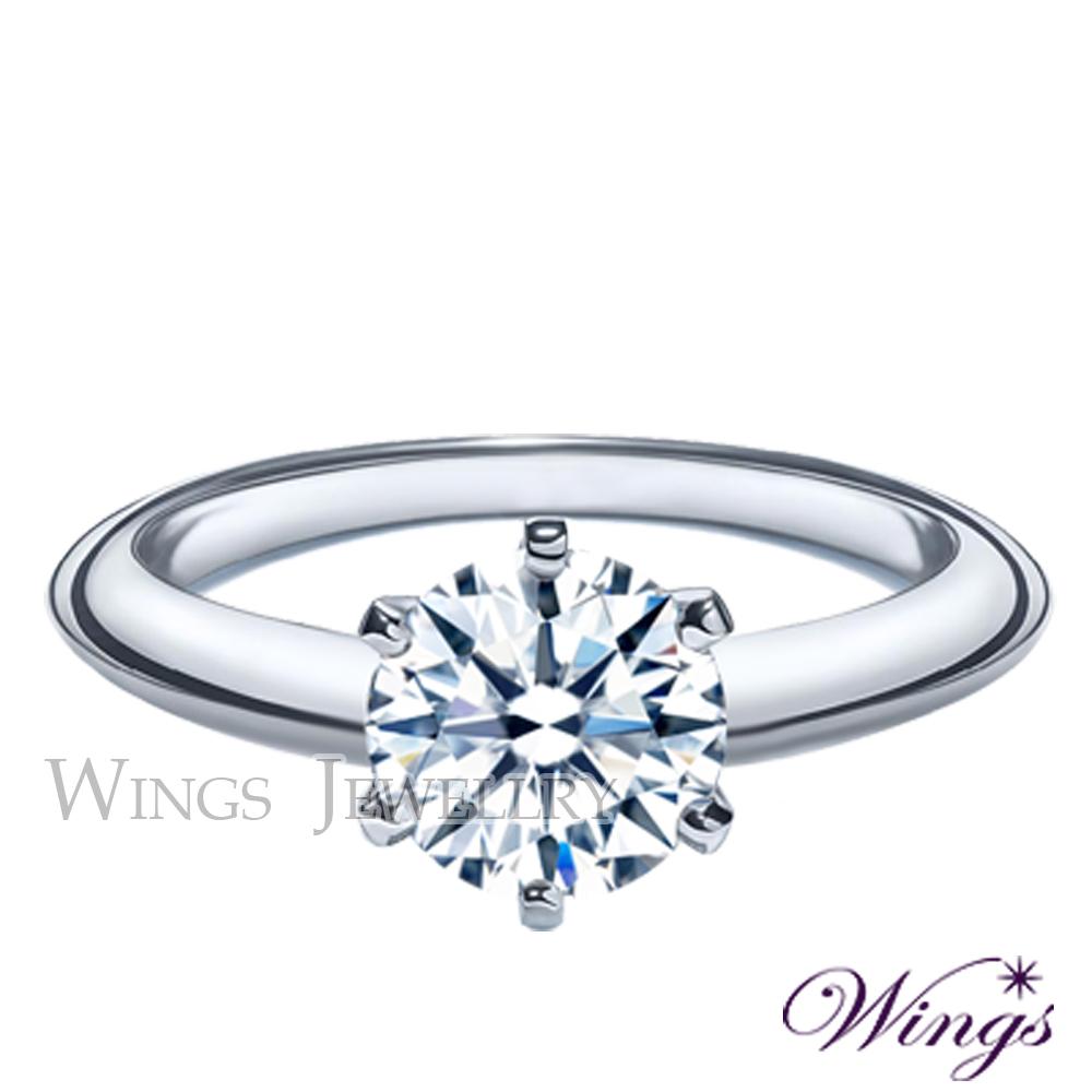 Wings 皇冠式戒台 經典六爪鑲戒指 八心八箭方晶鋯石精鍍白K金戒指 女戒