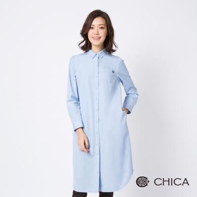CHICA 自由之心湛藍長版襯衫式洋裝(2色)