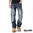BIG TRAIN 日式重擊破壞牛仔褲-中藍