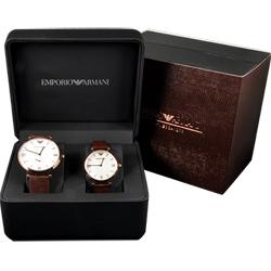 Emporio Armani 義式浪漫情人對錶-玫瑰金框x咖啡/40+32mm