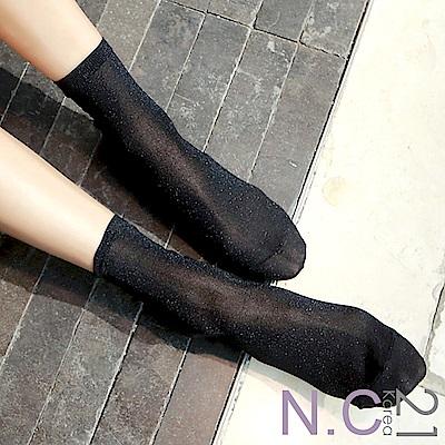 N.C21- 正韓 亮麗金蔥微透膚中筒襪 (黑色)