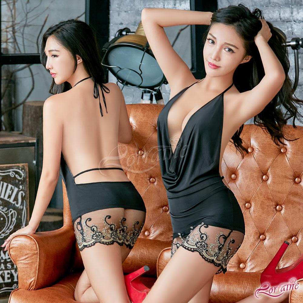 性感睡衣 魅惑黑色系深V綁脖美背二件式性感睡衣(黑F) Lorraine