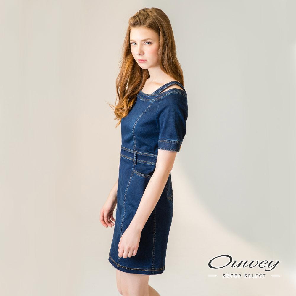 OUWEY歐薇 貼繡裝飾挖洞露肩牛仔洋裝(藍)-動態show