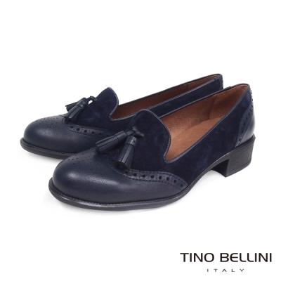 Tino-Bellini-西班牙真皮雕花流蘇低跟樂福鞋-藍