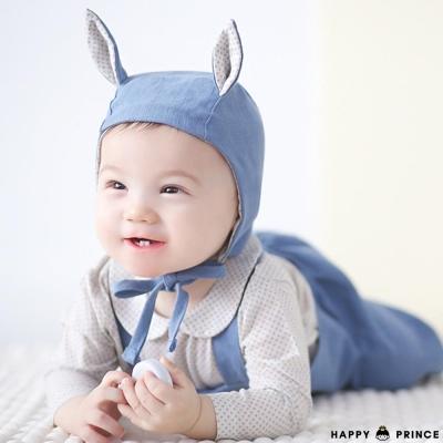 韓國 Happy Prince 象牙白圓領小米點長袖上衣