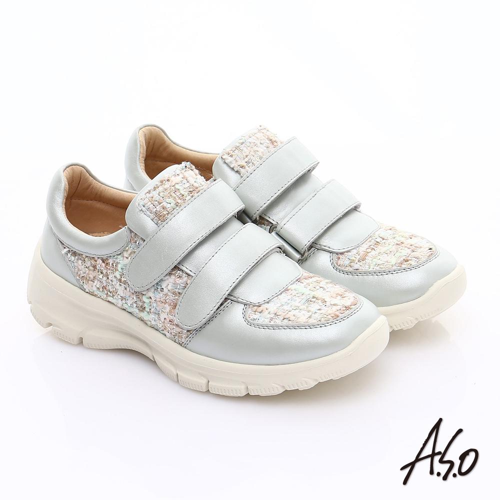 A.S.O 抗震美型 金屬牛皮拼布魔鬼氈奈米休閒鞋 銀 @ Y!購物