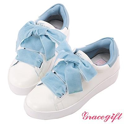 Disney collection by Grace gift蜜桃絨緞帶糖果休閒鞋 藍