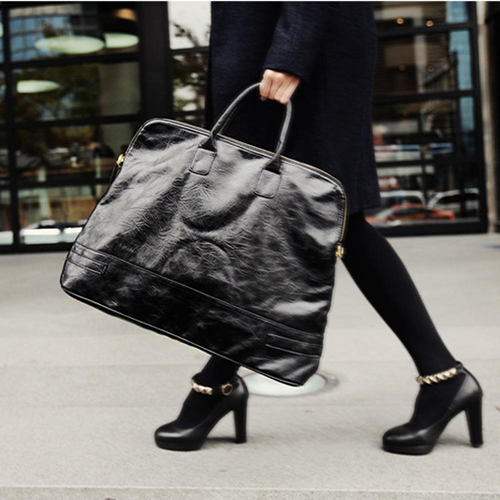 【Style Mentor】復古風仿舊皮感醫生包 (黑色)