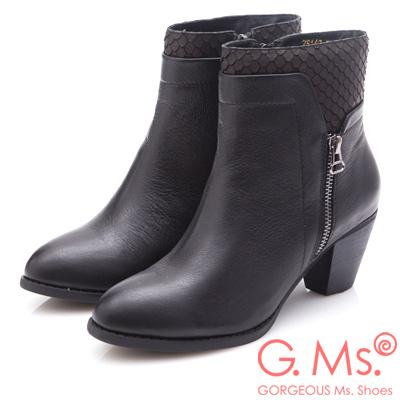 G.Ms. 牛皮拼接魚鱗造型粗跟踝靴-黑色