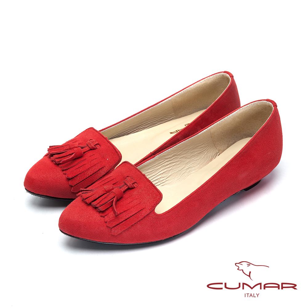 CUMAR台灣製造 經典流蘇羊皮低跟鞋-紅