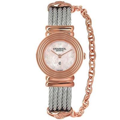 CHARRIOL夏利豪ST-TROPEZ 同心圓鎖鍊腕錶-粉紅貝殼面25mm