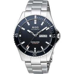 MIDO 美度 Ocean Star Caliber 80 200m潛水機械腕錶-黑x銀