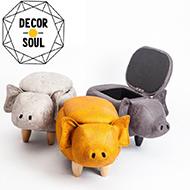 收納款大耳小豬造型椅