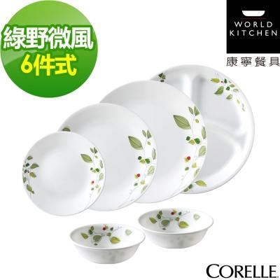 CORELLE康寧 綠野微風6件式餐盤組(601)