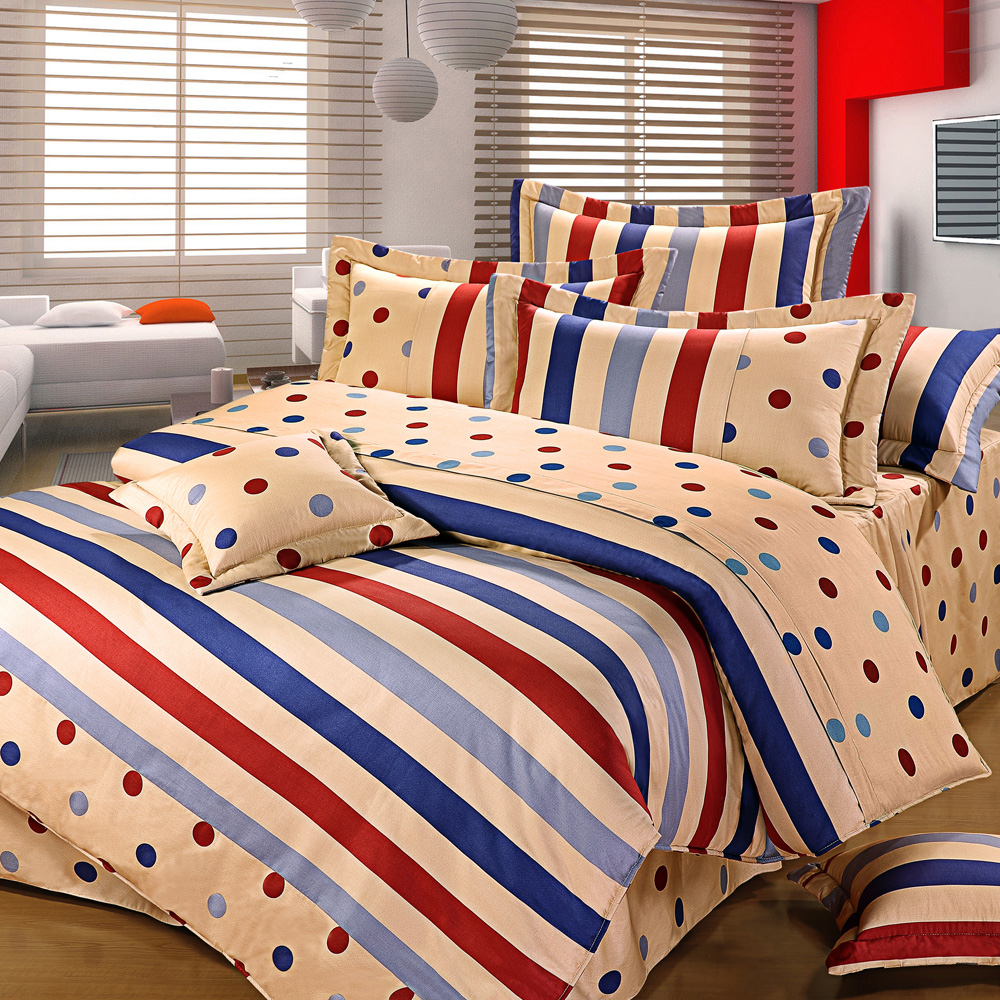 艾莉絲-貝倫 簡約生活 100%純棉 雙人鋪棉涼被床包四件組