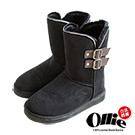 Ollie韓國空運-正韓製側V反褶多way中筒增高雪靴-黑