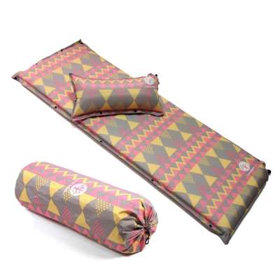 TreeWalker 加大加厚6cm可拆枕自動充氣睡墊-粉紅菱紋