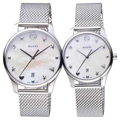 GUCCI古馳 G~Timeless 超薄米蘭帶對錶~36 29mm