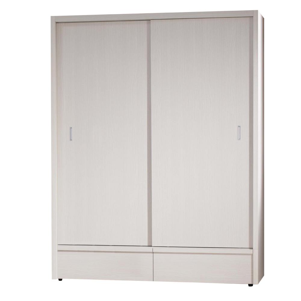 品家居 森活5尺推門衣櫃-151x61x200cm-免組