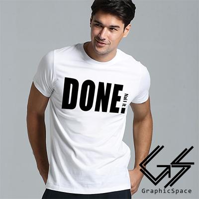 搞定了黑白配色標語磨毛水洗T恤共二色-GraphicSpace