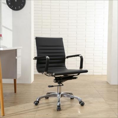 BuyJM 波浪型鋁合金腳PU輪皮面中背電腦椅-免組