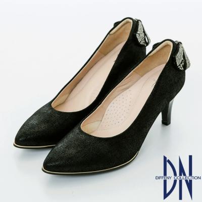 DN 浪漫甜心 優雅蝴蝶結鑽飾尖頭高跟鞋-黑