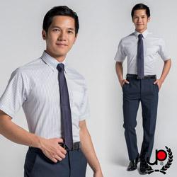 【極品西服】雅致品味釘釦領短袖襯衫_紫白條(SS413-80)