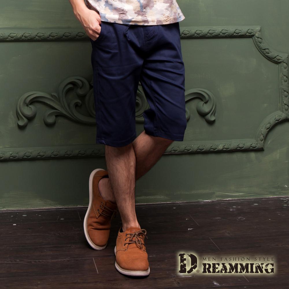 Dreamming 夏日潮感布標鬆緊抽繩休閒短褲-共五色 (深藍)