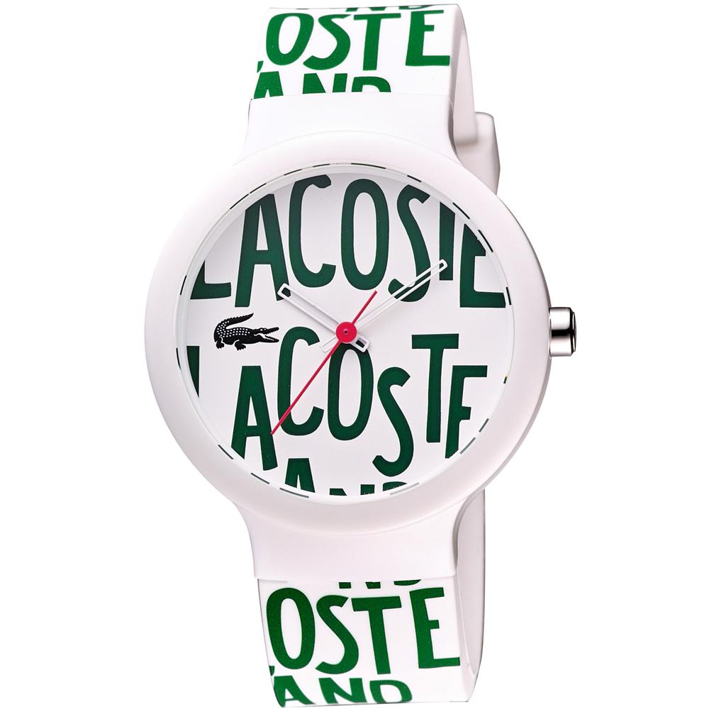 Lacoste 鱷魚 品牌LOGO 限定腕錶-白x綠/40mm