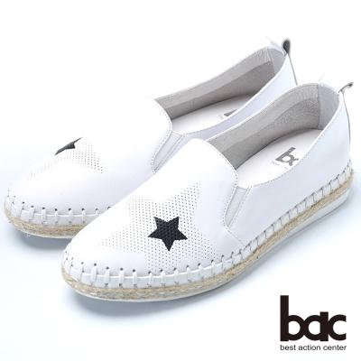 bac樂活時尚 黑白撞色牛皮樂福鞋-白
