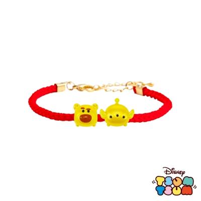 Disney迪士尼TSUM TSUM系列金飾 黃金編織手鍊-熊抱哥+三眼怪款