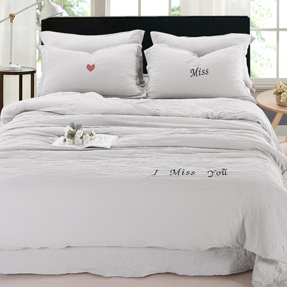 生活提案 - 泡泡棉 加大被套床包組 - 最美的遇見(灰色)